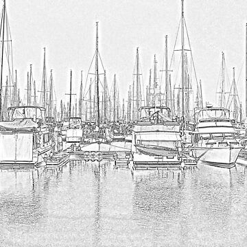 Manly Harbour, Pencil Sketch / HDR by Wayne48