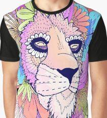 Pastel Flower Lion Graphic T-Shirt