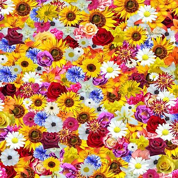 Multi Coloured Floral Pattern, Pretty Scattered Flowers by CreativeBridge