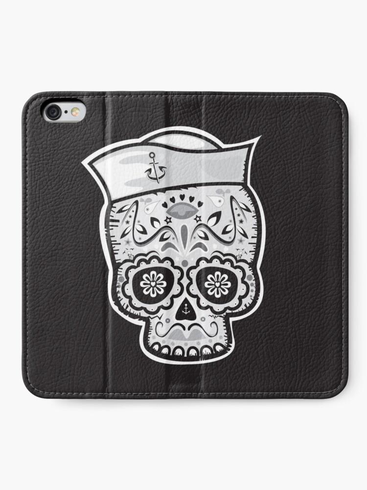 Alternate view of Marinero muerto sugar skull iPhone Wallet