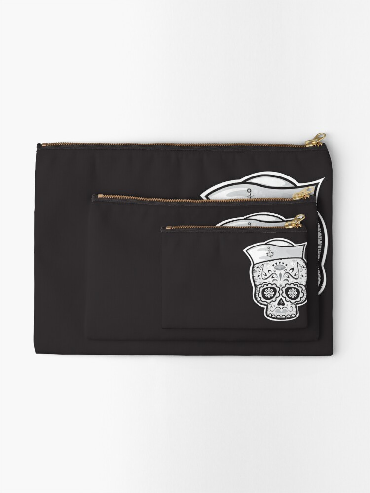 Alternate view of Marinero muerto sugar skull Zipper Pouch