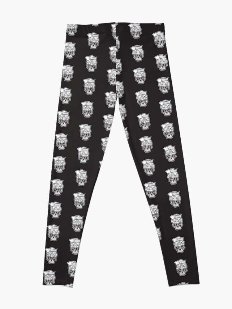 Alternate view of Marinero muerto sugar skull Leggings