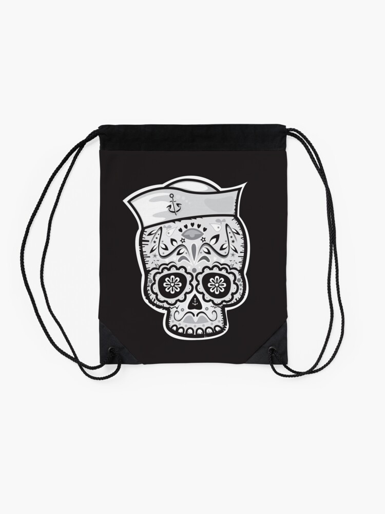 Alternate view of Marinero muerto sugar skull Drawstring Bag