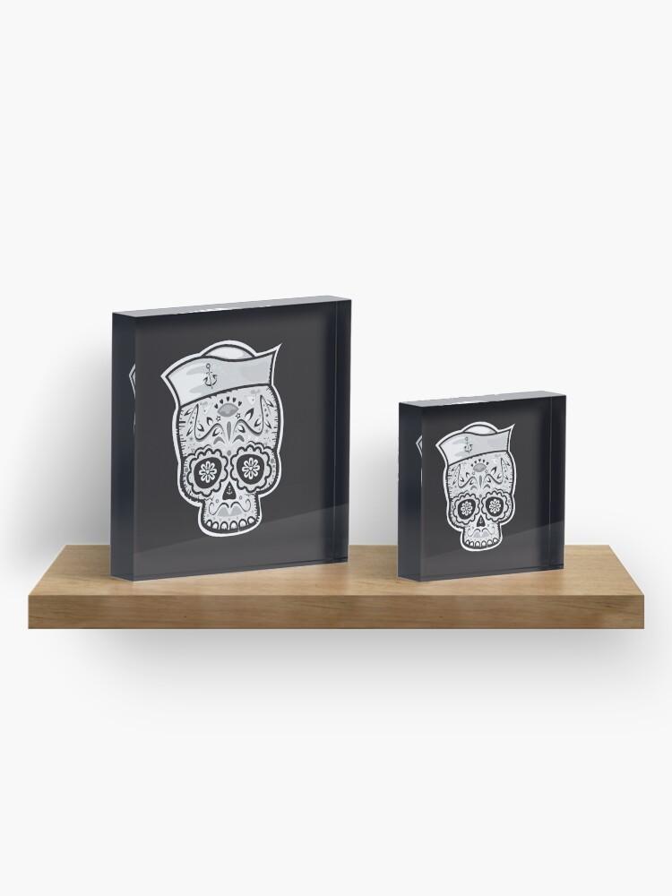 Alternate view of Marinero muerto sugar skull Acrylic Block