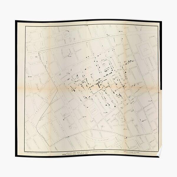 John Snow's Cholera Map Poster
