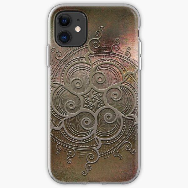 Mobile skin case mandala brown iPhone Soft Case
