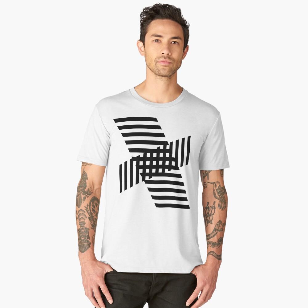 Minimalist Geometric Stripe Block Black on White Men's Premium T-Shirt Front