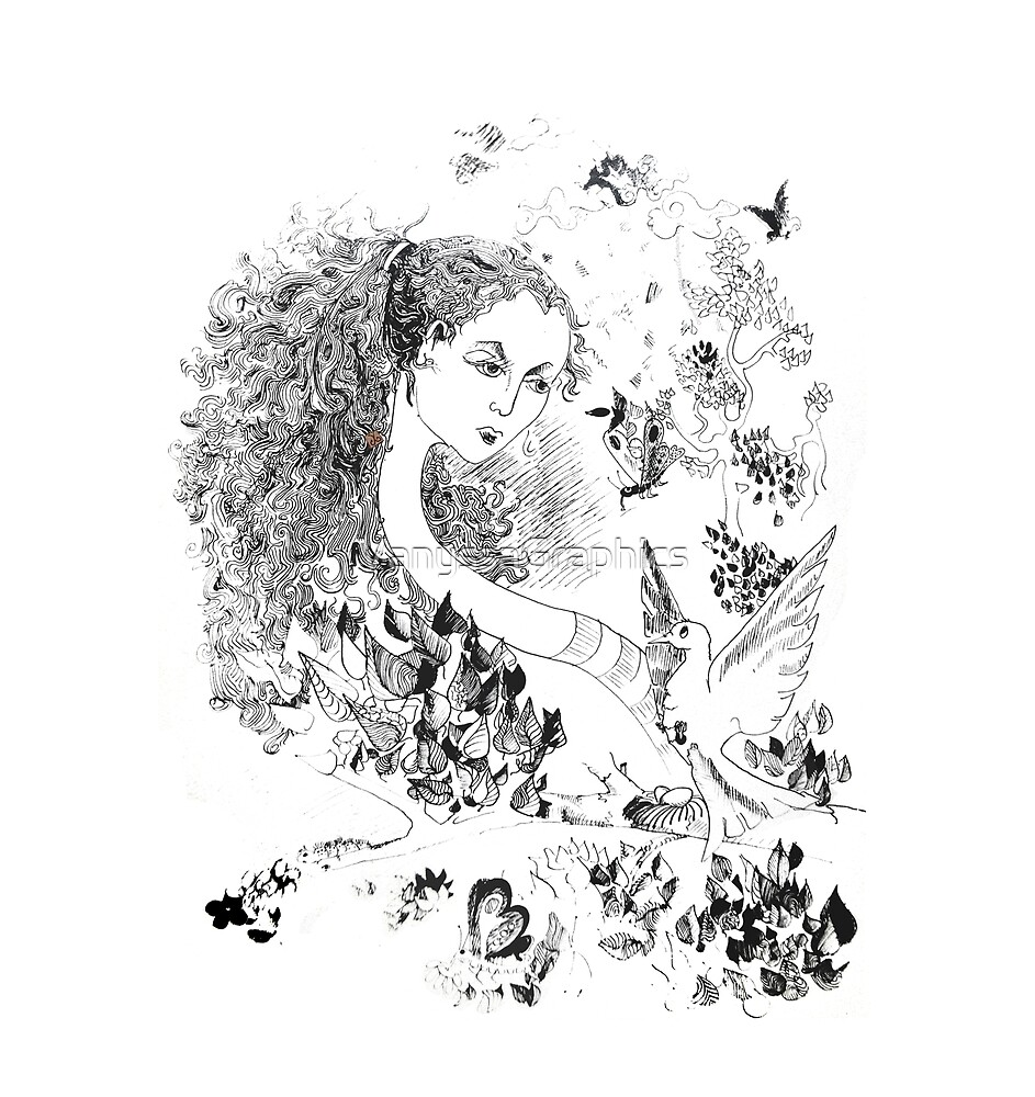 Alice in Wonderland - The Long Neck (original drawing by ACCI) by VanyssaGraphics