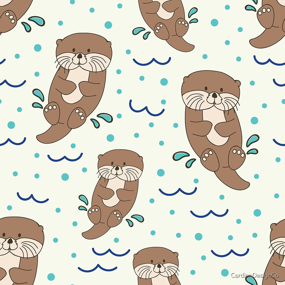 Cute Otters of the Sea by CardienDesignCo