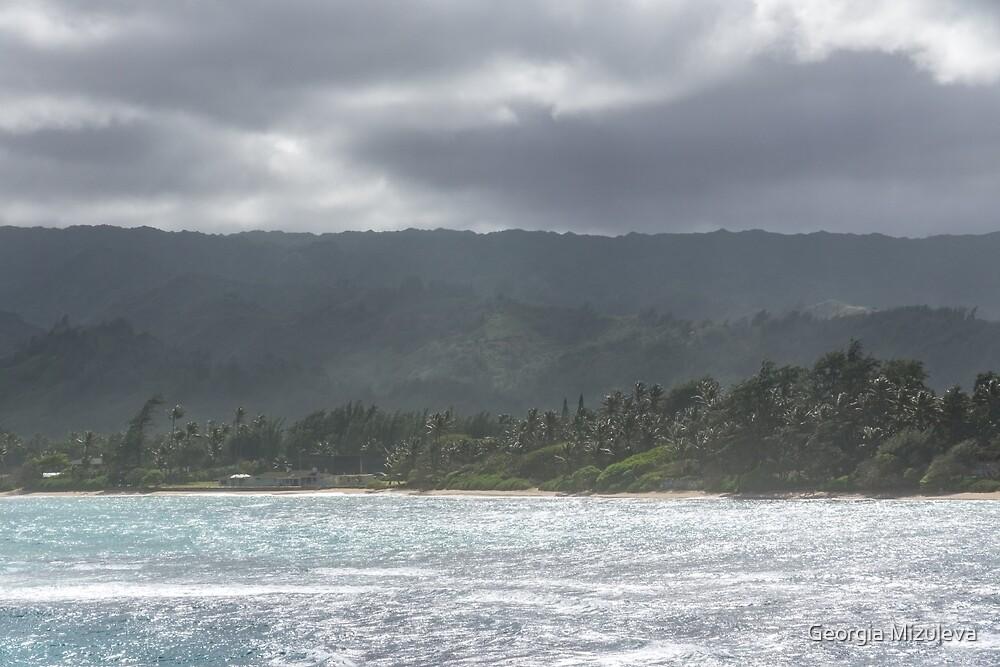 Hawaiian Coastal Mountains - Clearing Storm on Oahu Island North Shore by Georgia Mizuleva