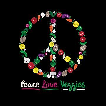 Peace Love Veggies Vegetable Lover Gift For Vegans by TheCreekMan