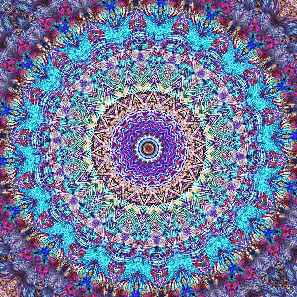Colorful mandala in magenta, violet and turquoise blue by WesternExposure
