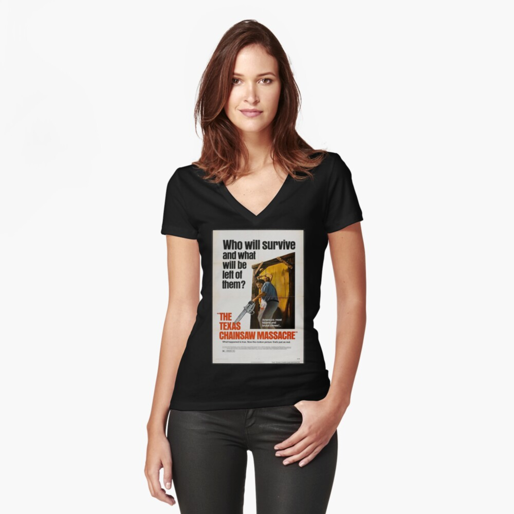 Texas Chainsaw Massacre Women's Fitted V-Neck T-Shirt Front