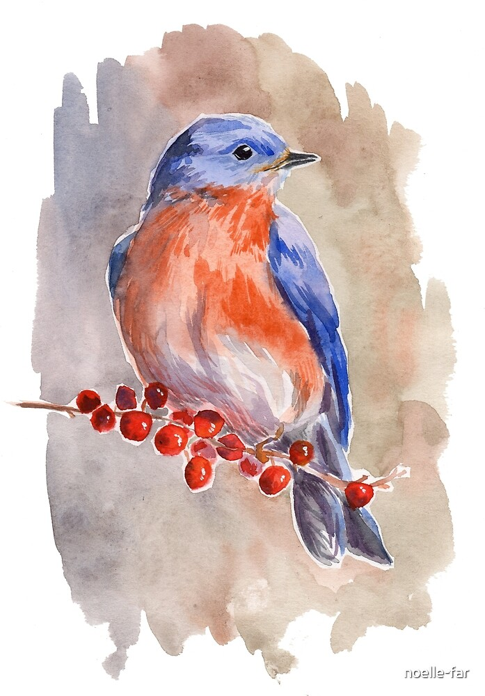 Bird with berries by noelle-far