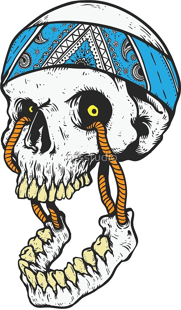 skull with head band and broken jaw hanged on it by nfsstudio