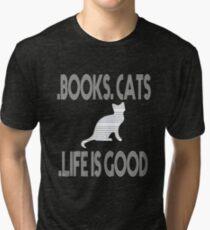 T Shirts Funny, Books. Cats. Life is Good. T-Shirt,t shirt time Tri-blend T-Shirt
