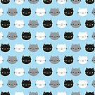 Cute Cats & Kawaii Kittens (Blue) by Marceline Smith
