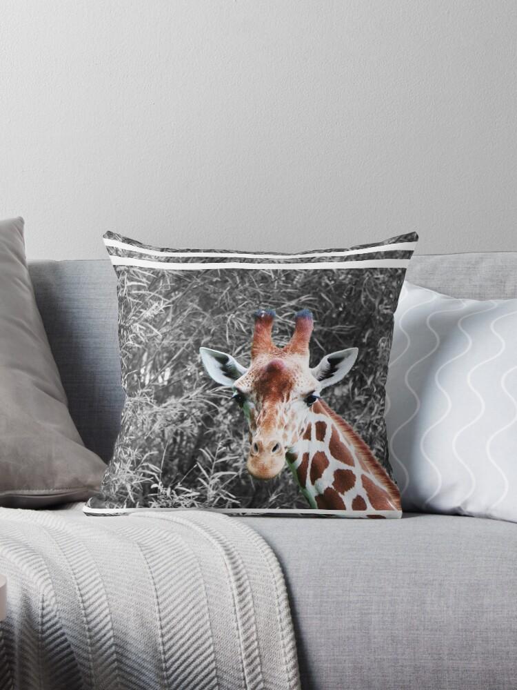 Funny Giraffe Black and White by SeijiArt