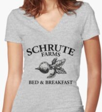 Schrute Farms - Bed and Breakfast - Logo - The Office Women's Fitted V-Neck T-Shirt