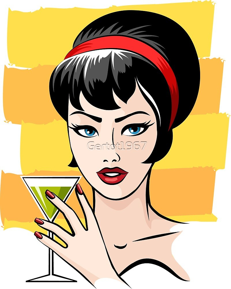 Beautiful girl and with cocktail glass  by Gertot1967