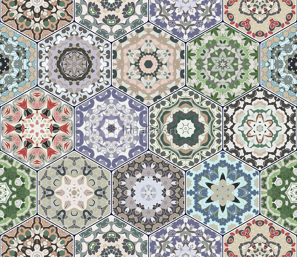 Hexagonal Oriental and ethnic motifs in patterns. by IrinaGuArt