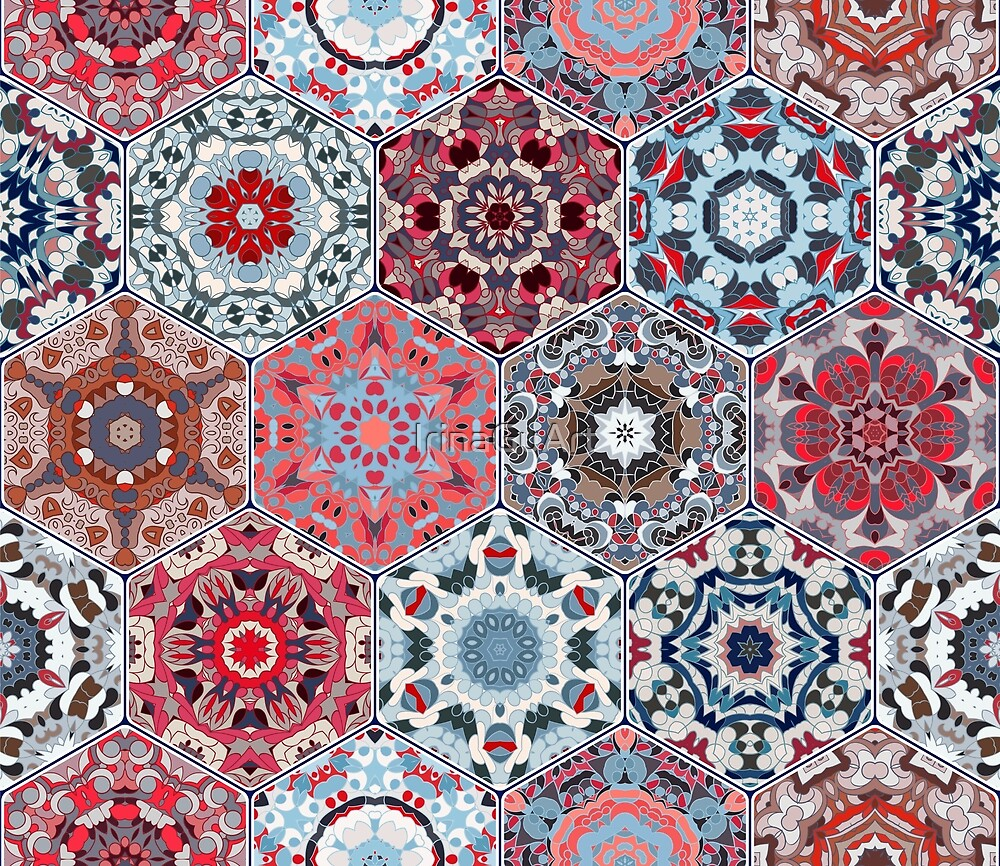 Hexagonal Oriental and ethnic motifs in patterns. by IrinaGuArt