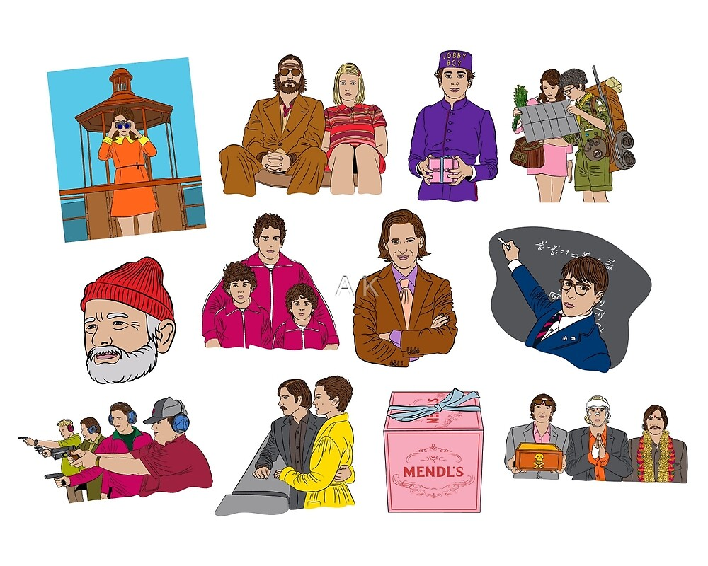 wes anderson sticker pack by A K