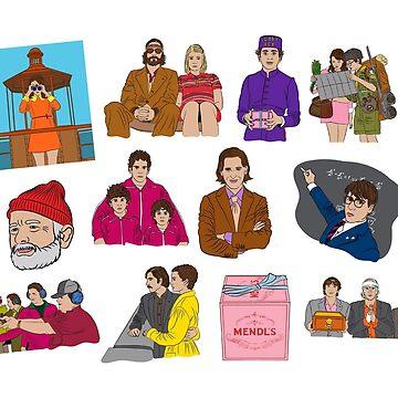 wes anderson sticker pack by aniekandya