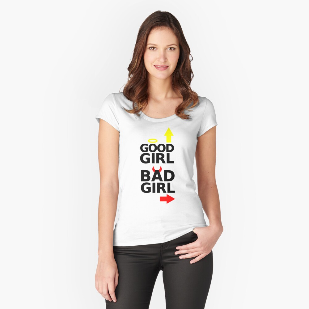 good girl bad girl with devil horns & halo graphic Women's Fitted Scoop T-Shirt Front