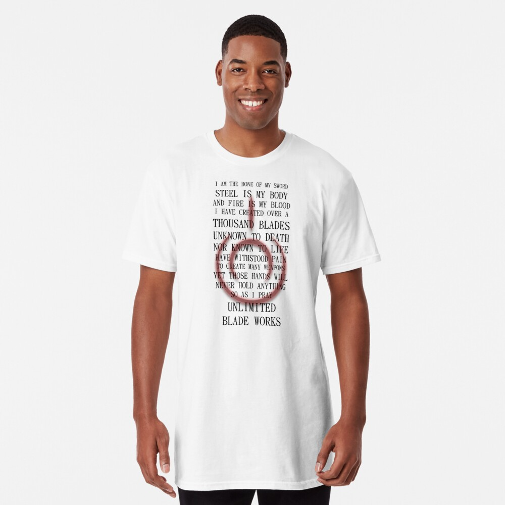 Fate Stay Night Unlimited Blade Works Archer And Shirou Quote With Command Seal Long T-Shirt