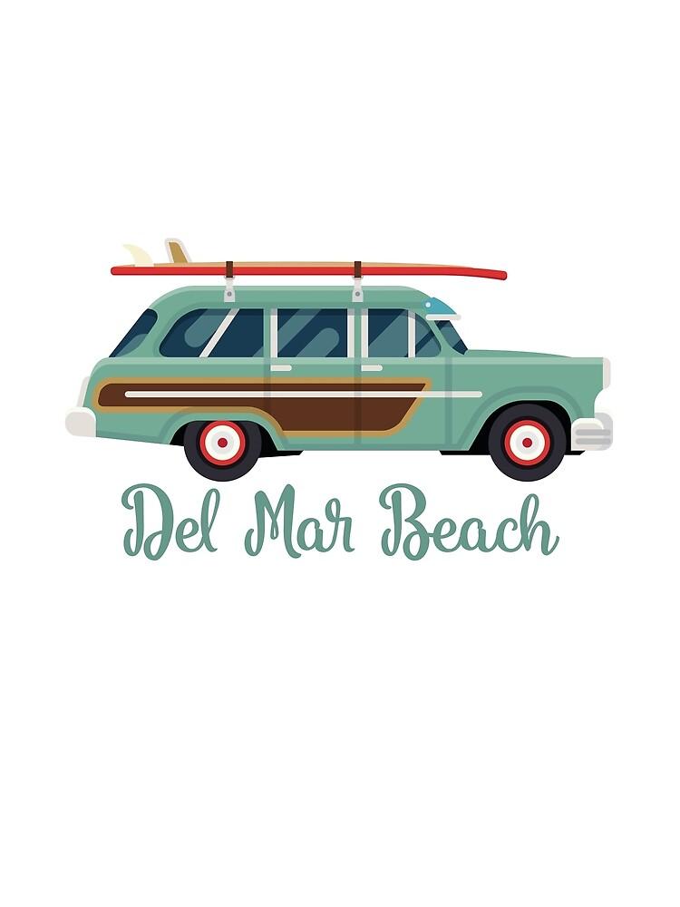 Del Mar Beach California Retro Surf Wagon by awkwarddesignco