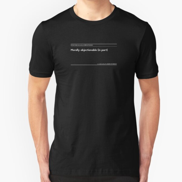 "The Legion of Decency condemnation series: Psycho, ""Morally Objectionable in Part"" Slim Fit T-Shirt"