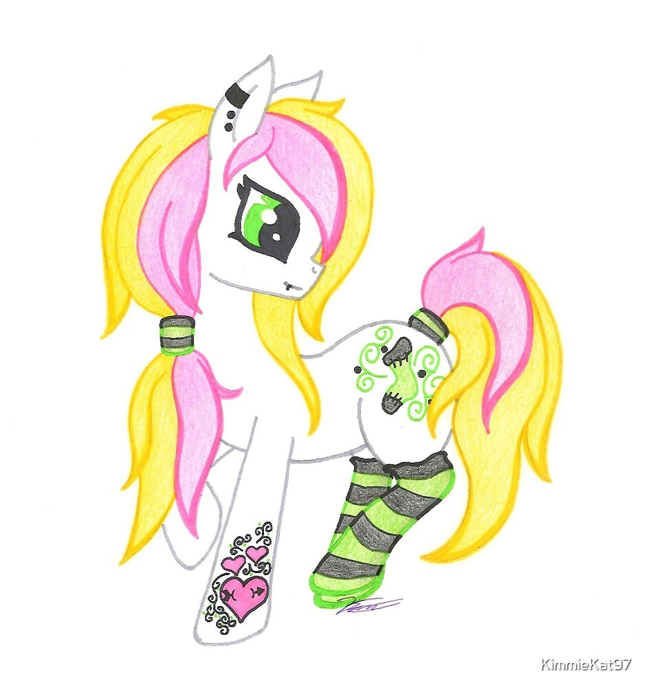 Pink and Green Scene Punk Pony by KimmieKat97