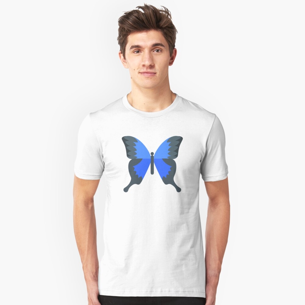 Butterfly - Blue and Black Unisex T-Shirt Front