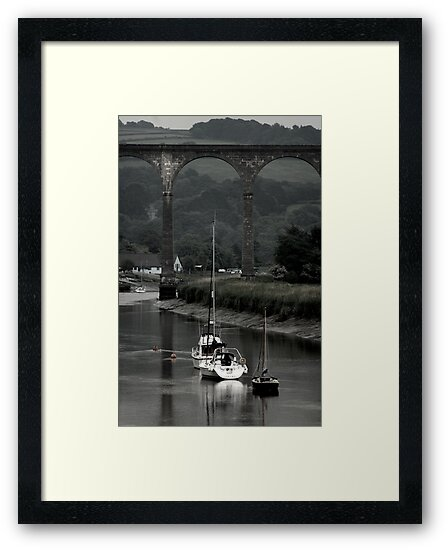 Boats Under Calstock Viaduct by Martin Ingley