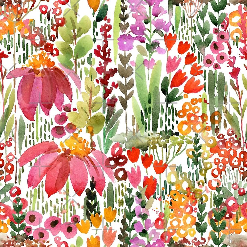 flowers botanical seamless pattern by Fayankova Alena