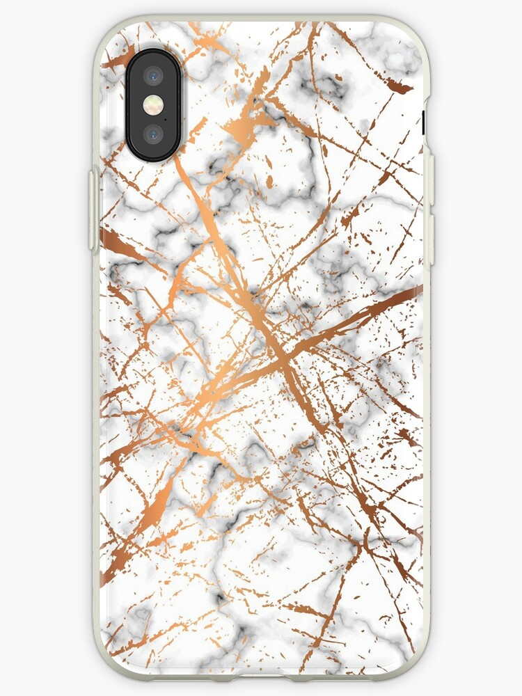 Golden Splatter Lines marble Phone Case by webeller