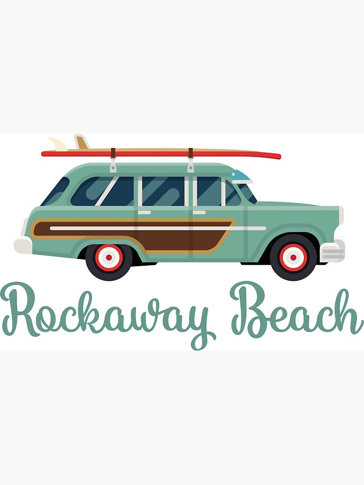 Rockaway Beach New York Retro Surf Wagon by awkwarddesignco