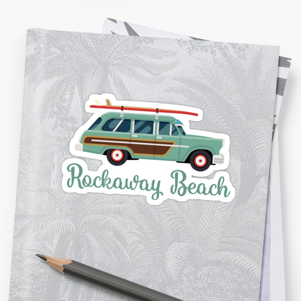 Rockaway Beach New York Retro Surf Wagon Sticker Front