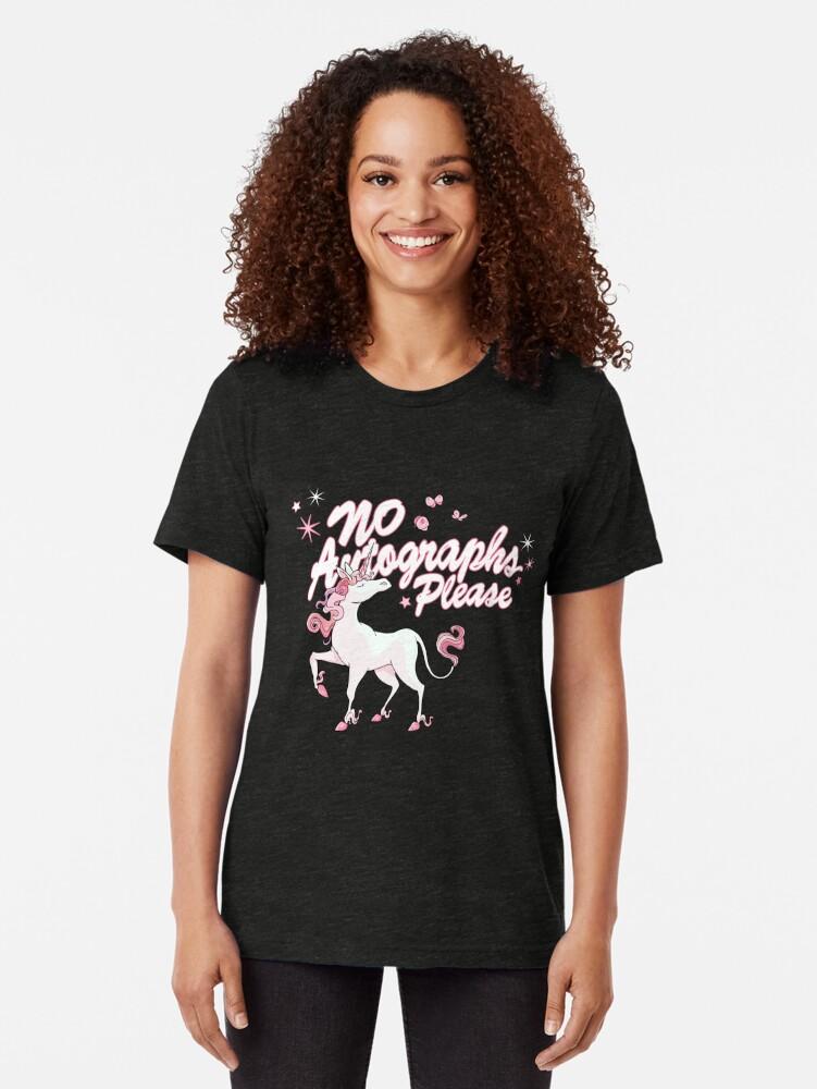 Alternate view of Unicorn says: no autographs please Tri-blend T-Shirt