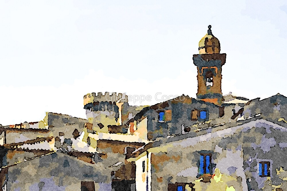 Bracciano: foreshortening with tower and bell tower by Giuseppe Cocco