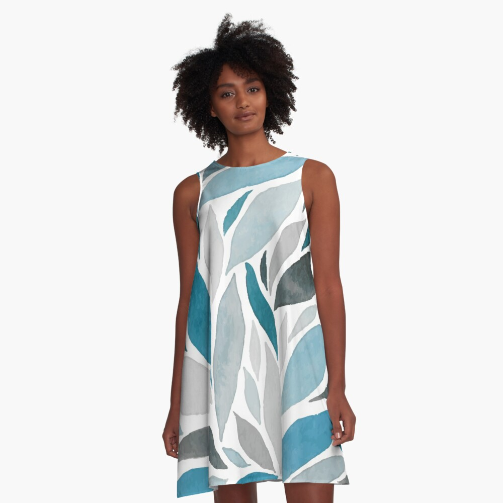 Abstract Leaves Summer Dress A-Line Dress Front