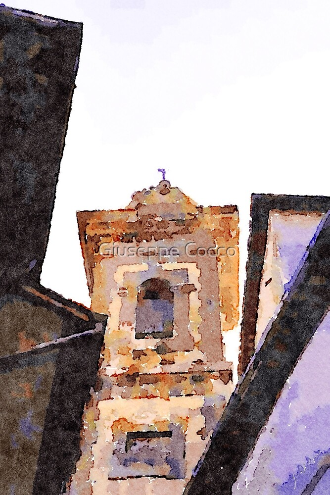 Bracciano: bell tower between the roofs by Giuseppe Cocco