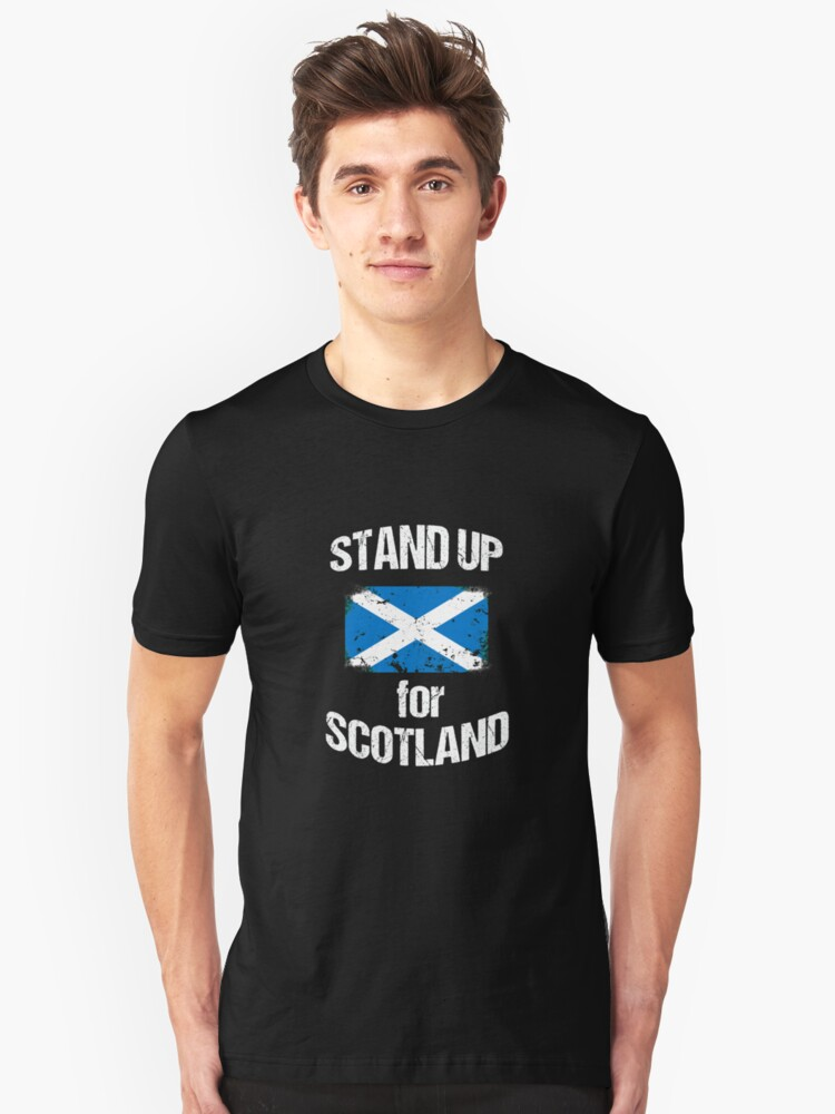 Stand Up for Scotland Scottish Flag Distressed Unisex T-Shirt Front