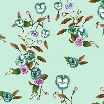 Pansy Peony, Teal, Russet & Mint by ThistleandFox