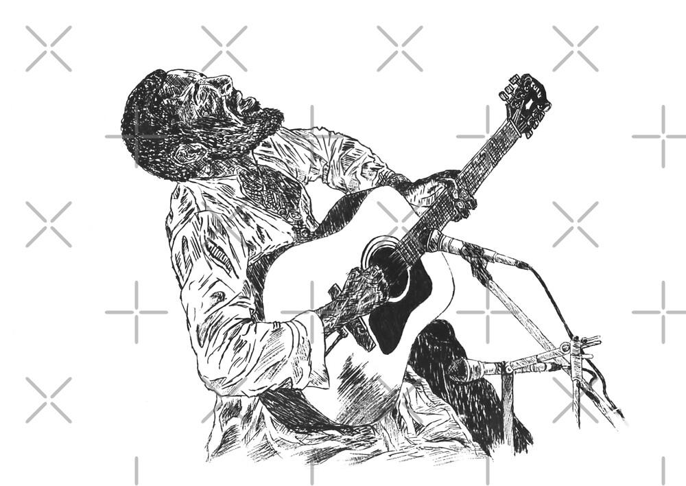 Richie Havens Original Hand Drawn Ink Artwork by HamiltonArt