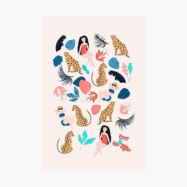 Tropical girls and Cheetah Photographic Print