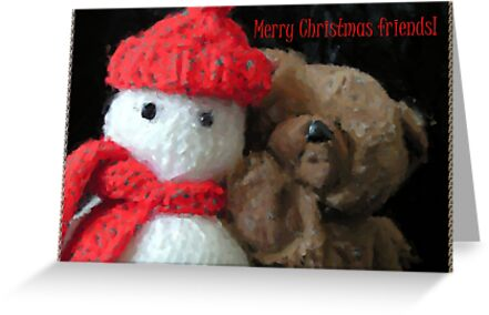 yohoo Knitted Snow...man & Teddy Bear Christmas greeting by patjila