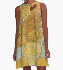 Vincent van Goghs Sonnenblumen A-Linien Kleid