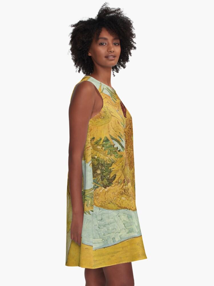 Alternative Ansicht von Vincent van Goghs Sonnenblumen A-Linien Kleid